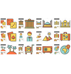 travel and holiday line icon set vector image vector image