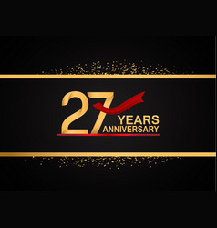27 years anniversary logotype with golden color vector