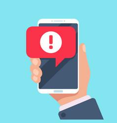 alert message mobile notification danger error vector image
