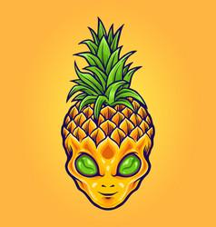 Alien pineapple mascot logo summer vector