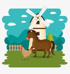 animals in the farm scene vector image