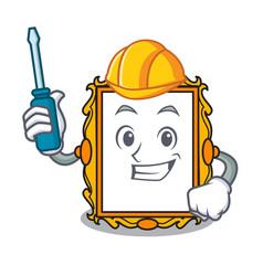 automotive picture frame mascot cartoon vector image