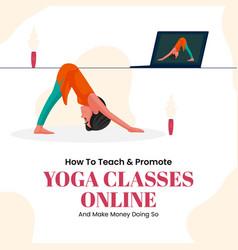 banner design of yoga classes online vector image