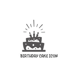 birthday cake icon simple flat style vector image