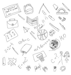 Black and white school doodle elements hand vector
