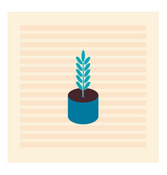 blue plant in blue pot on white background vector image