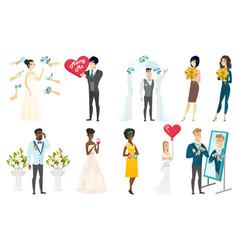 bride and groom set vector image