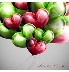 bunch of multicolored balloon hearts vector image