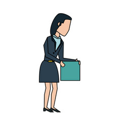 Business woman with box vector