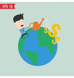 Businessman watering money - - EPS10 vector