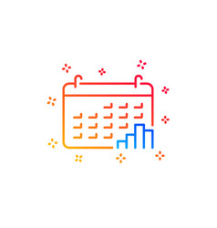 Calendar graph line icon column chart sign vector