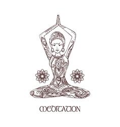 Card with yoga vector