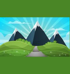cartoon landscape - abstract sun vector image vector image