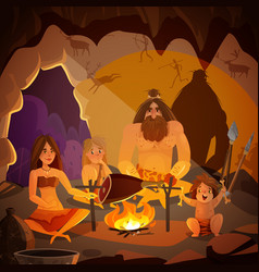 Caveman family cartoon vector
