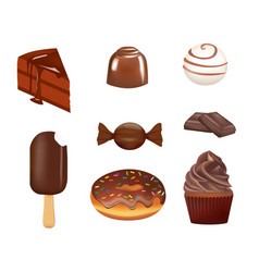 Chocolate confectionary set vector
