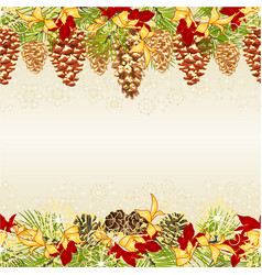 christmas seamless horizontal bordern branches vector image