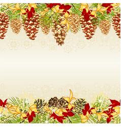 Christmas seamless horizontal bordern branches vector