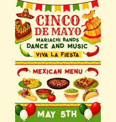 cinco de mayo mexican fiesta party invitation vector image