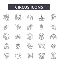 circus line icons for web and mobile design vector image
