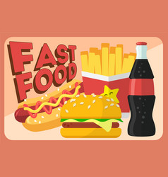 colorful fast food retro banner fast food vector image