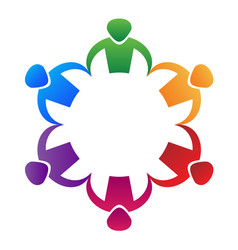colorful people partnership teamwork logo vector image