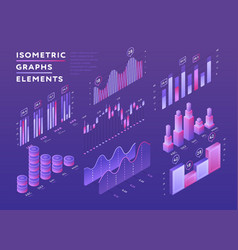 colorful set of isometric graphic elements vector image