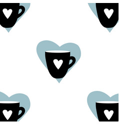 Cups mug pattern seamless tile background heart vector
