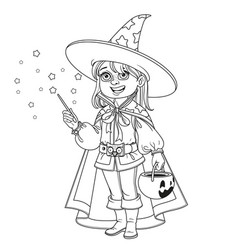 cute boy in magician costume with a pumpkin bag vector image
