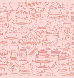 cute various desserts sweets seamless vector image