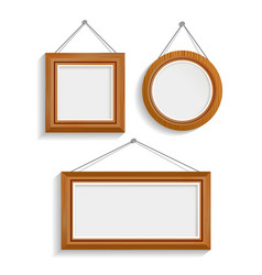 Dark wood isolated frames set vector