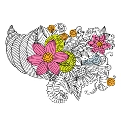 doodle bouquet of flowers in shell vector image