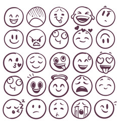 doodle emoticons emoji with different expression vector image