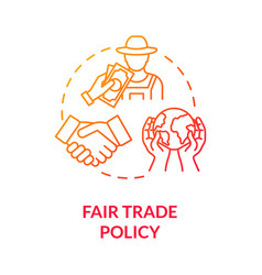 Fair trade policy red gradient concept icon vector