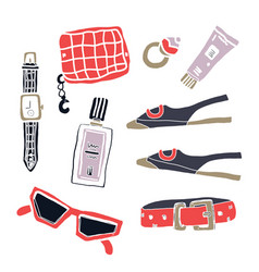 fashion accessories flatlay isolated on white vector image