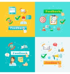 Feedback web infographic elements set vector image