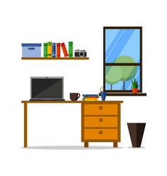 flat home or office workplace with table vector image