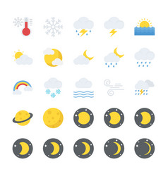 Flat icons set of nature elements vector