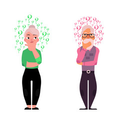 flat old elderly man woman thinking vector image