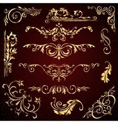 floral set golden ornate page decor vector image