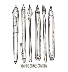 Fountain pen and brush tools vector