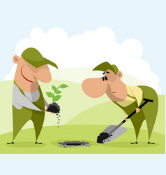 Gardeners planting a plant vector