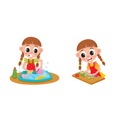 Girl doing housework - washing dishes and cooking vector