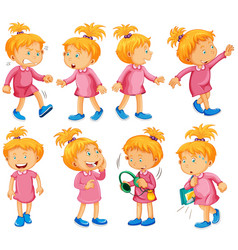 girl in pink dress doing different things vector image