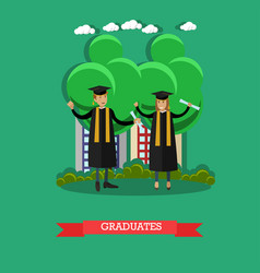 graduates in flat style vector image
