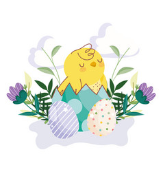 happy easter cute chicken in eggshell eggs flowers vector image