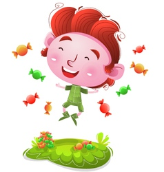 Happy Kids With Candies vector image