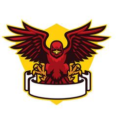 Hawk mascot spreading wings vector