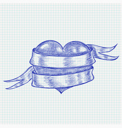 heart wrapped with ribbon blue hand drawn sketch vector image