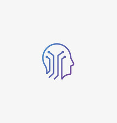 Human head brain logotype tech mind vector