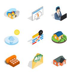 Insurance broker icons set isometric style vector